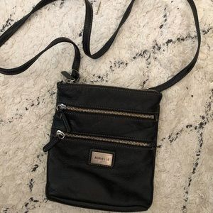 Aurielle black leather zippered crossbody bag